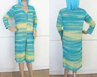 1990's Turquoise Kimono Robe Small Medium Japanese Asian Vintage Retro 90's Obi Weave Bonsai Symbols nrGJX37