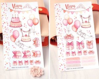 Birthday Stickers Personal Size Sheet ~ For Filofax, Kikki K, Happy Planner, Erin Condren Life Planner, personal diary or journal