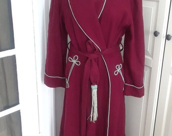 """1940s Burgundy Robe, Dressing Gown, with Baby Blue Trim, Wool, Wrap, Tassle Belt, Size M/L, 22"""" B, As Is"""
