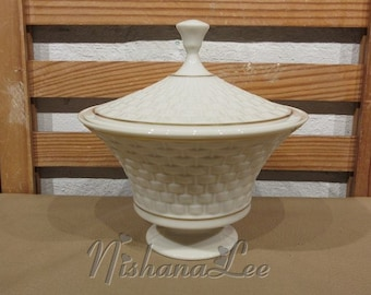 Lenox Madison Collection Embossed Basket Weave Covered Candy Dish with Gold Trim