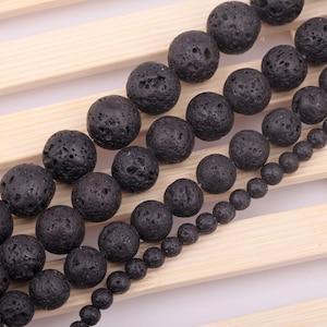 Black Lava Beads - Round beads - PICK SIZE 4mm, 6mm, 8mm - 15 inch strand- Diffuser Beads - Round Beads, Gemstone Beads, Semi Precious