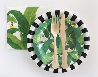 Tropical Leaf Plates, Summer Party, Tropical Party Plates, Palm Leaf