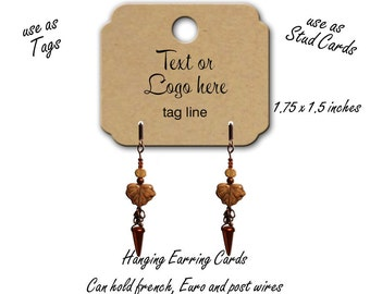 60 Custom Tags, Hanging Earring Cards, Earring Display, Tags, Jewelry Display, Stud Earrig Cards, Earring Cards, Product tags, tag 1