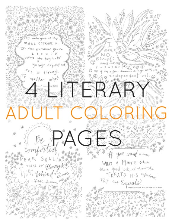 Set Of 4 Adult Coloring Pages Literary