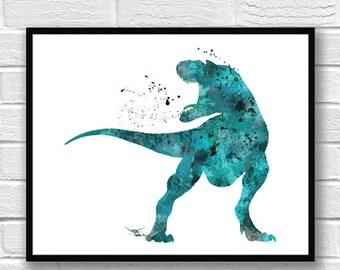 T-Rex Watercolor Print, Dinosaur Art, Dinosaur Poster, Wall Art, Home Decor, Kids Wall Decor, Room Decor, Fine Art, Home & Living - 80