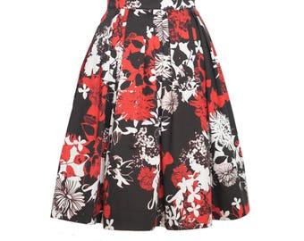 Faltenrock aus Baumwolle mit abstraktem Blütendruck, knielanger Rock für Damen, A Linie Rock, Midirock, Sommerrock, schwarz, weiss, rot
