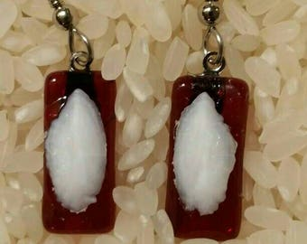 Fused glass earrings cranberry red with Otolith.