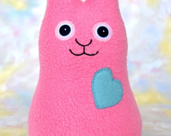 Easter Gift Handmade Bunny Rabbit Stuffed Animal, Medium Pink, Turquoise Fleece, Plush Doll Art Toy, Hug Me Bunny, Personalized Tag, 9 inch