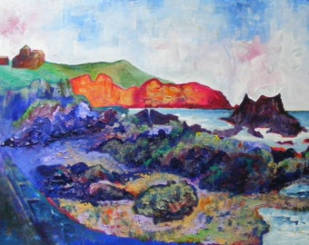 St Abbs print from a painting by Pamela Palmer