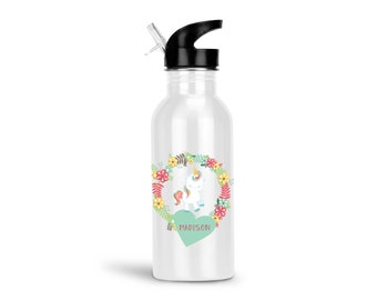 Unicorn Kids Water Bottle - Unicorn Floral Green Heart Flowers with Name, Child Personalized Stainless Steel Bottle BPA Free Back to School