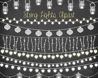 "String lights clipart: ""CHALKBOARD STRING LIGHTS"" with wedding lights, party lights, patio lights, lights clipart for wedding invitations"