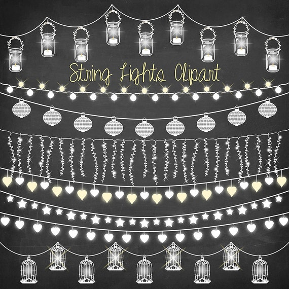 Porch Light Drawing: String Lights Clipart: CHALKBOARD STRING LIGHTS
