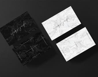 Elene • Premade Minimalistic Marble Business Card Design | Add Your Own Logo | OOAK One of a kind