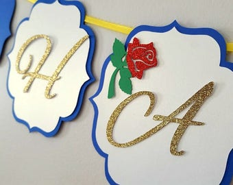 Beauty and the beast birthday banner in royal blue, white, gold, yellow. Happy birthday banner. Beauty and the beast, princess party banner.