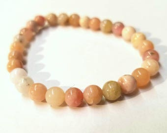 "7"" Peruvian Pink Opal Beaded Stretch Bracelet"