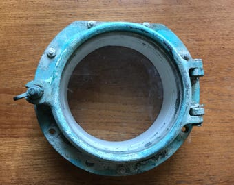 "Brass and glass porthole, 9"", with straight edge"