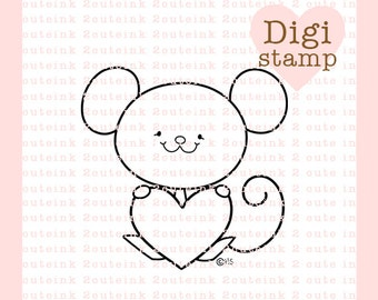 Sweet Mouse Valentines Digital Stamp for Card Making, Paper Crafts, Scrapbooking, Stickers, Coloring Pages