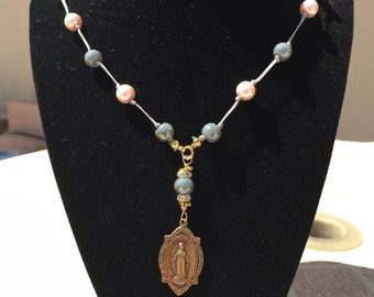 Miraculous Medal Necklace with Glass Pearls and Faceted Glass Beads, Catholic Jewelry , Religious Jewelry