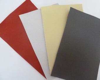 lot 4 leather pieces of complementary colors