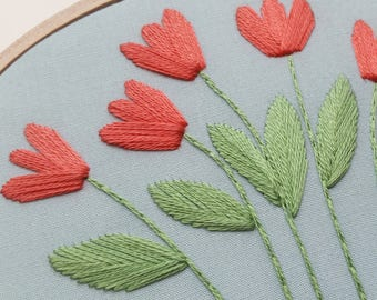 Tulip Garden Hoop Art. Hand Embroidered Hoop Art. 3.5 x 5 inch Hoop. Hand Embroidery. Floral. Hand Stitched. Fiber Art. Wall Art. Decor.