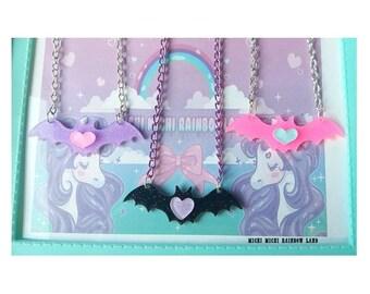 Pastel Goth Heart Glitter Bat Acrylic Necklace or Bracelet