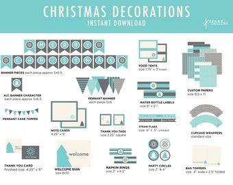 Christmas Printables - Christmas Decorations  - Printable Party Pack - Christmas Party Decorations -