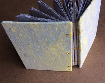 Grey and yellow journal, handmade paper, sketch book, travel journal, guest book, recycled guestbook, diary, sketchbook, homemade paper