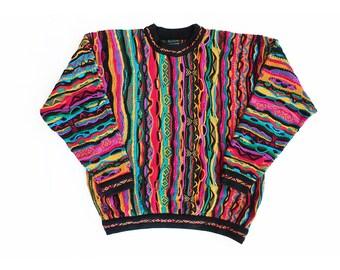 vintage sweater / Coogi sweater / 90s hip hop clothing / 1980s multi color Coogi 3d knit sweater Biggie Smalls Medium