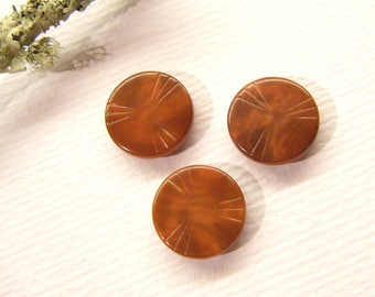 """Small Antique Buttons, Set of 3, PINWHEEL, Vegetable Ivory, Corozo Tagua Nut, 5/8"""", ANIMAL CHARITY Donation"""