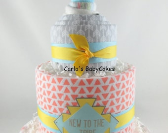 Tribal diaper cake | Baby shower decoration | Baby shower gift | Baby diaper cake | Neutral diaper cake | Fox diaper cake | New mom gift