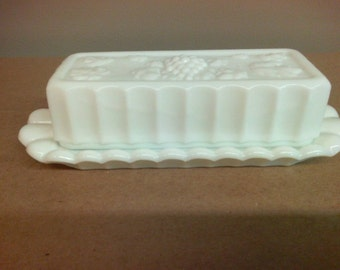 Westmoreland Glass Paneled Grape Milk Glass Butter Dish