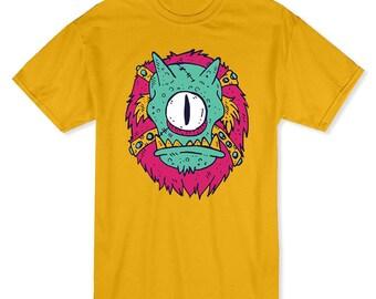 Scary Cyclops Cartoon Men's Gold Halloween T-shirt