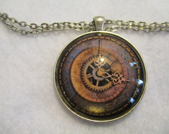 The Ultimate STEAMPUNK Clock Face Cabochon PENDANT Necklace
