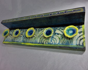 Green yellow blue  vintage pattern wall mount shelf hanger with glass flower knobs