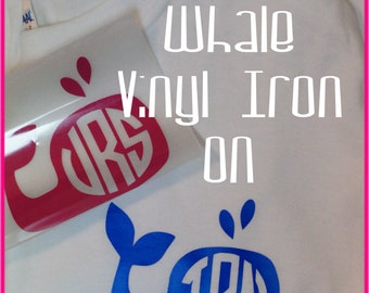 DIY Vinyl Iron On Preppy WHALE or Sea Turtle with Your Monogram...Add to any Tee, Bag, Fabric item....You Choose color and Monogram Style