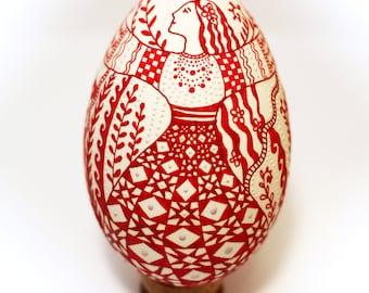 Real ukrainian pysanka. Big goose egg. Pysanky. Pisanki