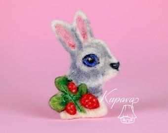 Animal rabbit brooch Bunny rabbit pin miniature Woodland animal jewelry Needle felted wool brooch Easter basket stuffer Eco friendly gift
