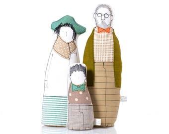 Family Portrait dolls , Personal family , Family  set , handmade soft sculpture ,3D family portrait , likeness doll , Parents  girl dolls