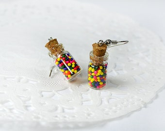 Earrings greedy, miniature bottles with real Candy colored sugar, candy, create cute jewelry