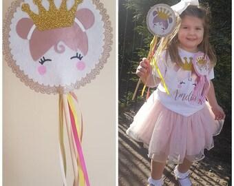 birthday wand, birthday prop, princess wand, girls birthday wand, birthday party, crown wand, rose gold, girls wand, fairy wand, fabric wand