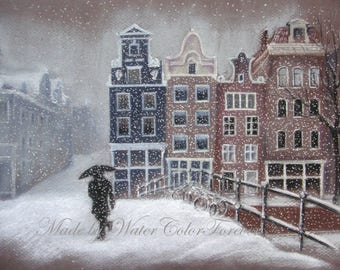 Amsterdam original painting/Amsterdam art/Amsterdam cityscape/winter painting/gift/original wall art/Amsterdam art/Amsterdam drawing/snowy
