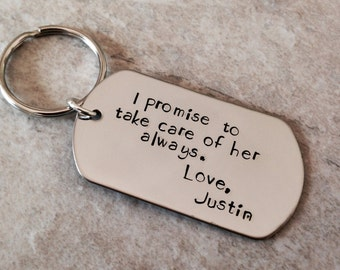 I promise to take care of her always personalized mother inane gift wedding favors custom keychain hand stamped metal work jewelry