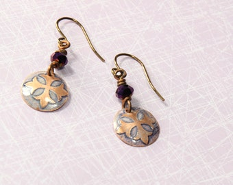 Etched French Cross Dangle Earrings