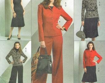 Womens Jacket, Sleeveless Dress and Pants OOP Butterick Sewing Pattern B4871 Size 8 10 12 14 Bust 31 1/2 to 36 UnCut Lifestyle Wardrobe