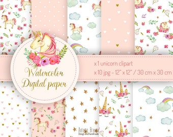 Unicorn digital paper, unicorn party, Watercolor Digital Scrapbooking Paper, digital paper set, digital paper pack, watercolor unicorn