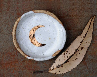COPPER MOON - Jewellery Bowl - Speckled Stoneware Clay - Crescent Moon