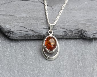 Amber Necklace Sterling Silver - Amber Necklace  - Natural Baltic Amber Silver Necklace Jewelry Jewellery -  Amber Pendant Necklace - B34