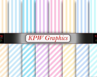 Rainbow Pastel Stripes Digital Printable Scrapbook Papers, Personal & Small Commercial use (0063)