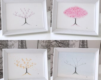Four Seasons of Cherry Blossom Paintings: four original and framed cherry blossom watercolour paintings