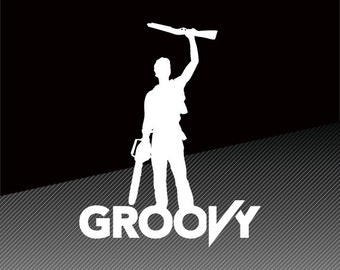 Ash Evil Dead - Army of Darkness - Boomstick GROOVY Vinyl Decal Sticker